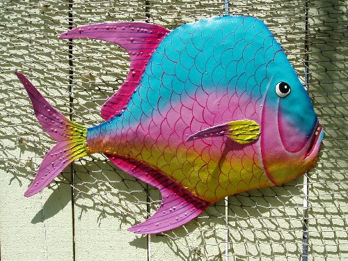 "17"" Aqua Pink & Yellow Metal Lookdown Fish"
