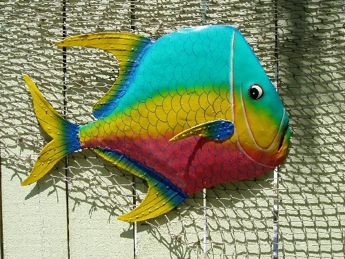 "17"" Teal Yellow Red Metal Lookdown Fish"