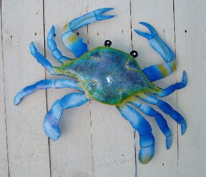 18in Metal Maryland Blue Crab Wall Decor