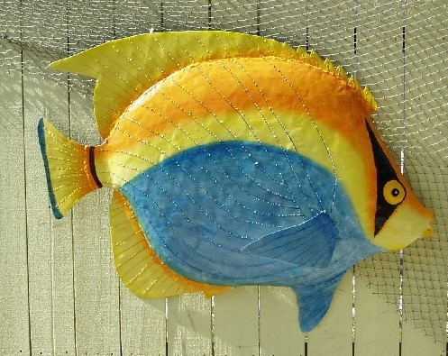 36in Metal Bandit Fish Wall Decor