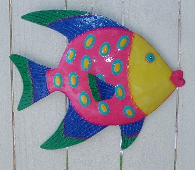 "36"" Metal Funky Angelfish Wall Decor"