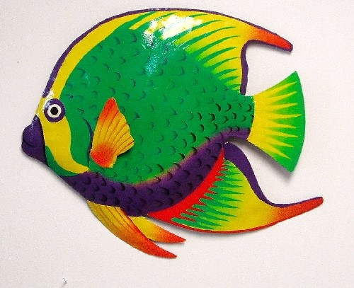 36in French Butterfly Fish Metal Wall Art