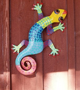 8in Ceci the Metal Gecko Decor