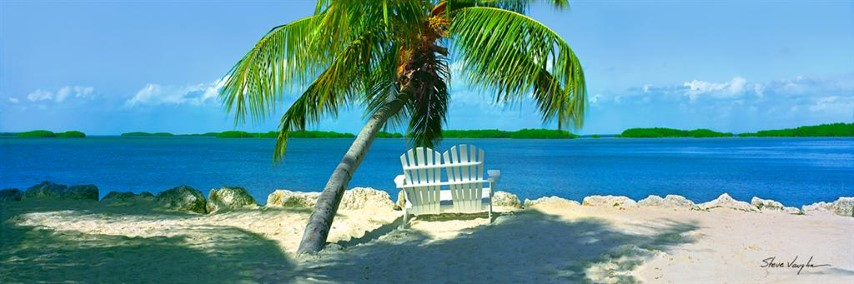 Tropical Wall Art 60 x 18 Chairs and Palm By Steve Vaughn