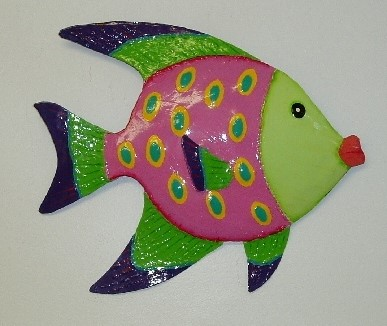 13in Metal Green Face Funky Angel Fish