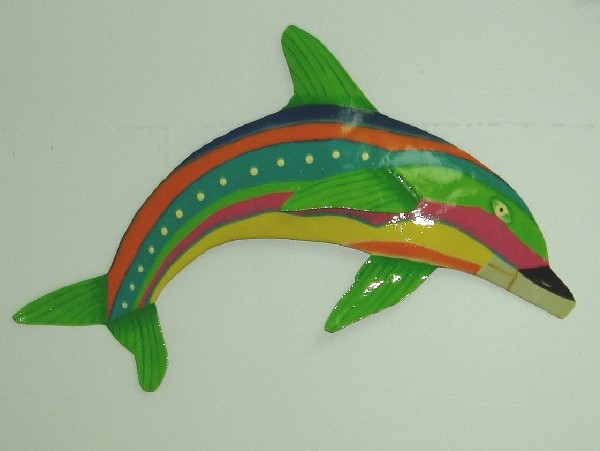 "13"" Green Fin Stripe Dolphin Wall Art"