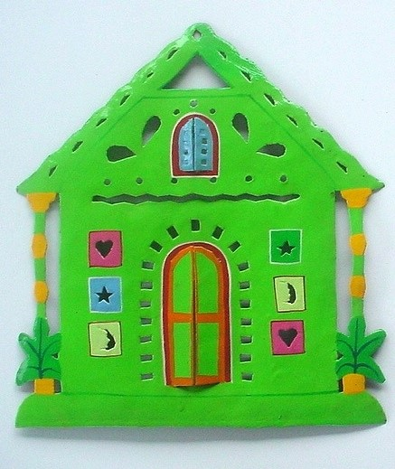 13in Metal Green Gingerbread Wall Accent