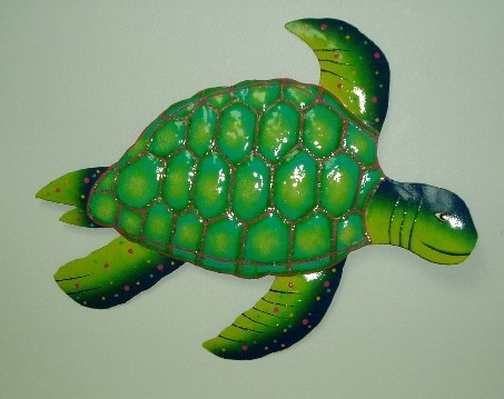 "15"" Metal Green & Blue Sea Turtle Wall Decor"