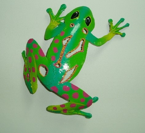 9in Green Sculpted Frog Wall Decor