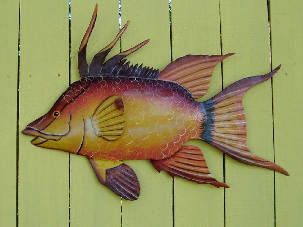 18in Metal Hogfish Wall Art
