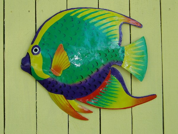 18in French Angelfish Metal Wall Art