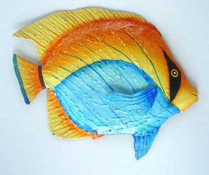17in Metal Bandit Fish Wall Art