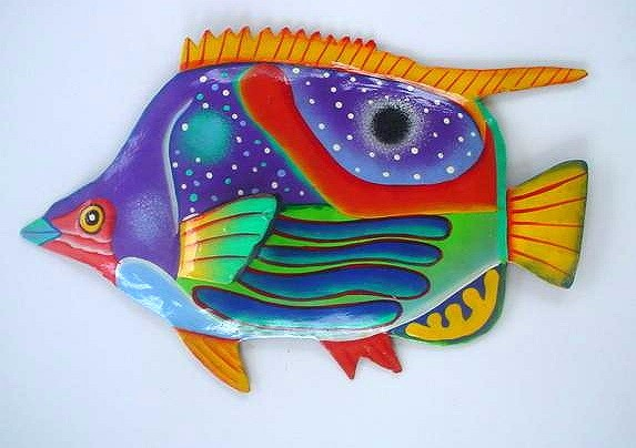 36in Metal Butterfly Fish Wall Decor