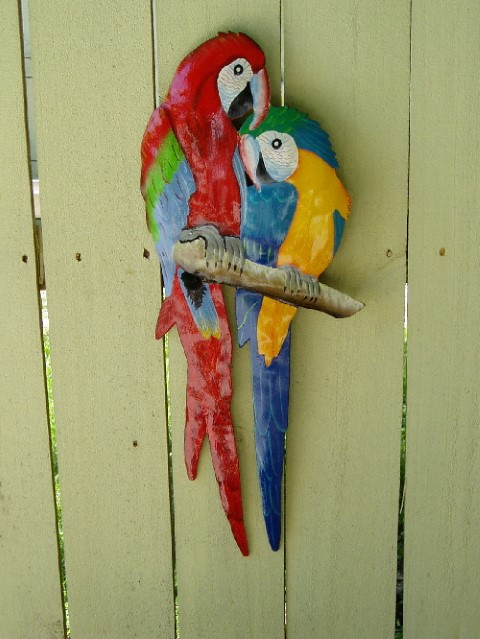18in Red & Blue Love Parrots Metal Wall Decor