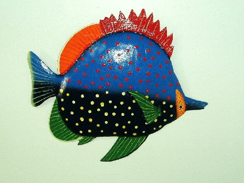 "17"" Metal Red Fin Fish Wall Art"