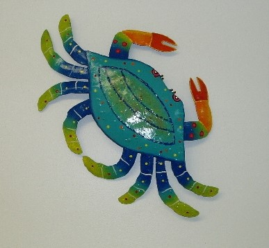 16in Metal Teal Crab Wall Decor