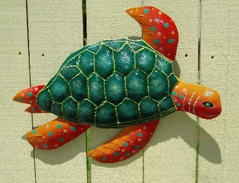 15in Metal Orange & Dark Green Sea Turtle Wall Decor