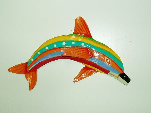 "13"" Orange Fin Striped Dolphin Wall Decor"