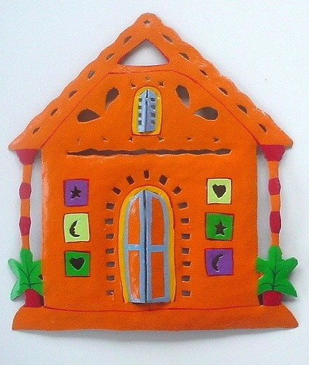 13in Metal Orange Gingerbread House Wall Accent