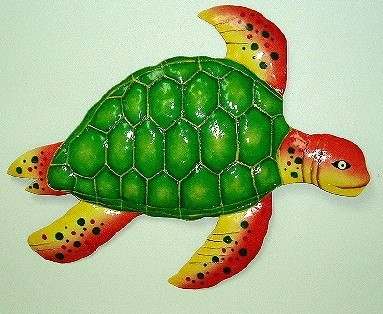 "15"" Metal Green & Orange Sea Turtle Wall Decor"