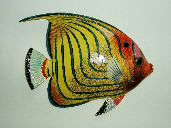 15in Blue Stripe Tropical Fish Wall Decor