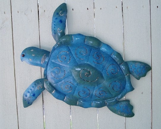 20in Blue Metal Sea Turtle