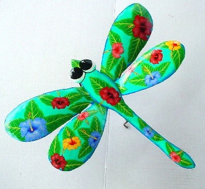 18in Metal Hibiscus Teal Dragonfly Wall Art