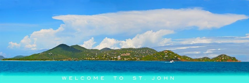 Tropical Wall Art 60 x 18 Welcome to St John By Steve Vaughn