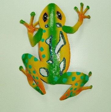 9in Yellow & Green Sculpted Frog Wall Decor