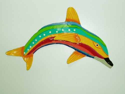 "13"" Yellow Fin Striped Dolphin Wall Decor"
