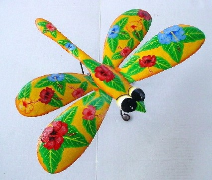 18in Metal Hibiscus Yellow Dragonfly Wall Art